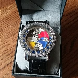 Mens Blingster watch w blue & clear gems